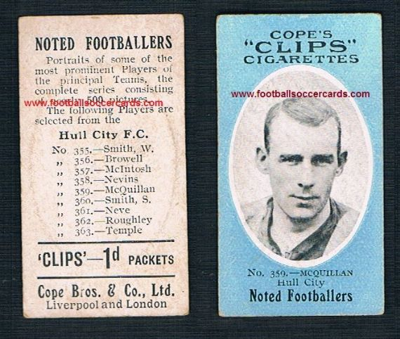 1909 Cope Brothers Noted Footballers 500 series McQuillan Hull City 359